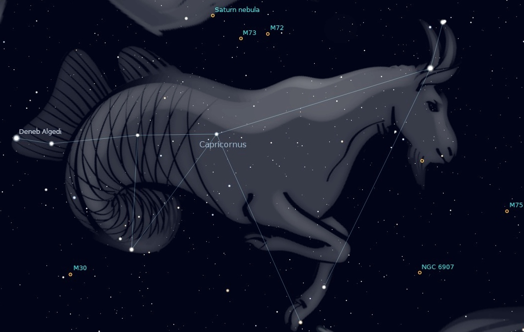 Photo showing the chevron shaped constellation Capricornus in the southern night sky.