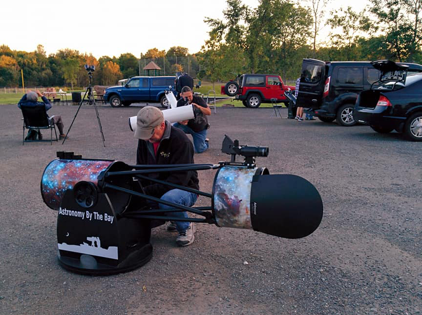 Photo of telescopes being set up at Town of Hampton's 2nd Star Party at Dutch Point Park in Sept. 2019--by Christine White.