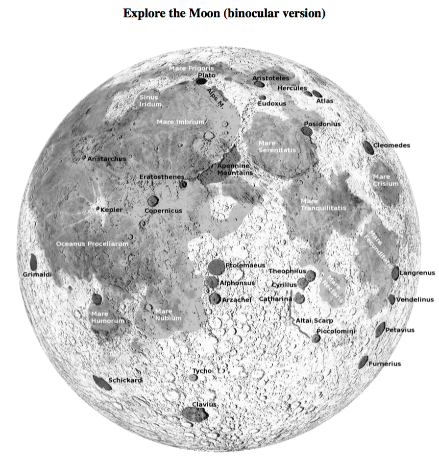 Screenshot of a lunar image used in the RASC Explore the Moon with Binoculars Certificate Program.