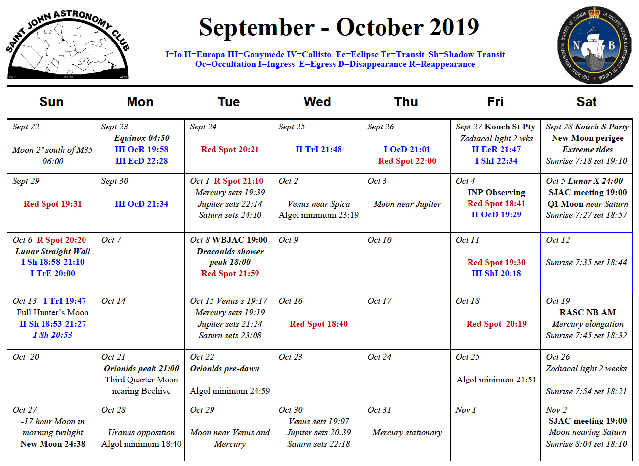 Photo showing the September-October 2019 Calendar for the Saint John Astronomy Club