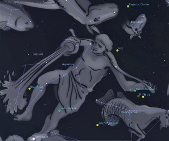 Photo showing the constellation Aquarius the Water Bearer and location of some of the Messier objects including M2.