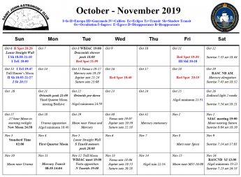Photo showing the October-November 2019 Calendar for the Saint John Astronomy Club.
