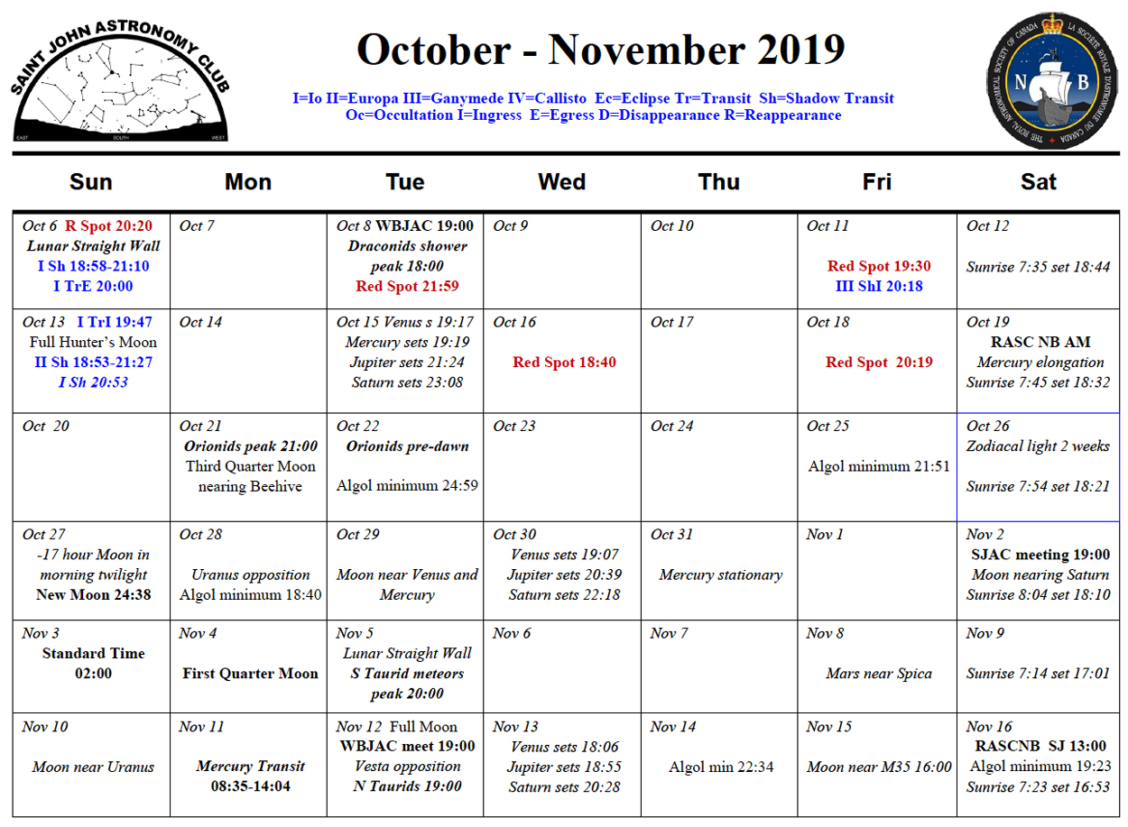 Photo showing the October-November 2019 Calendar for the Saint John Astronomy Club.