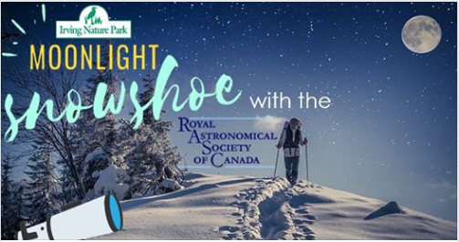 Link to the Moonlight Snowshoe Hike 2020 at Irving Nature Park.
