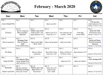 February-March 2020 Calendar of the Saint John Astronomy Club