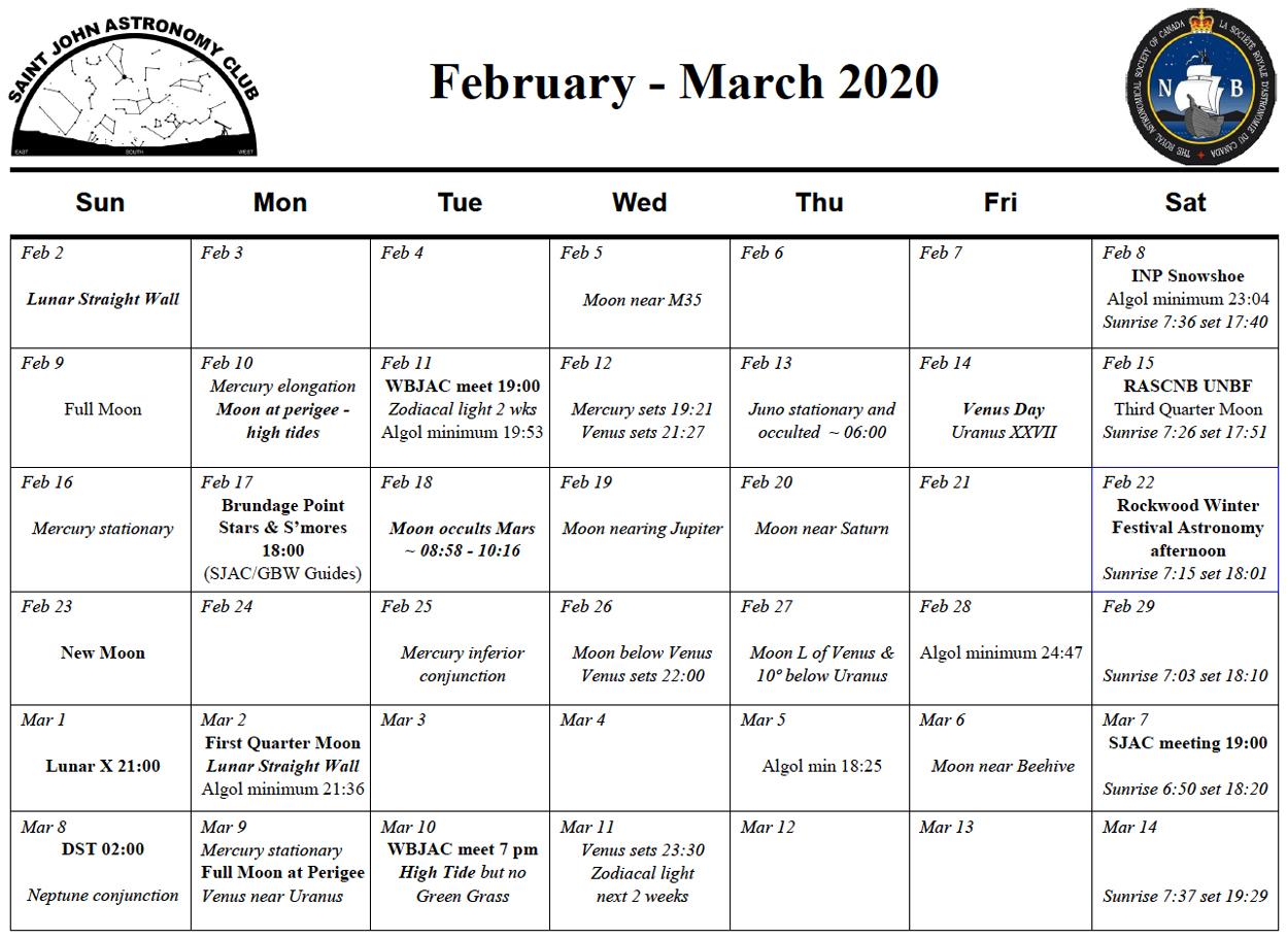 February-March 2020 Calendar of the Saint John Astronomy Club