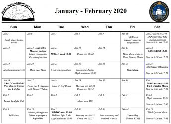 Jan-Feb 2020 Calendar of the Saint John Astronomy Club