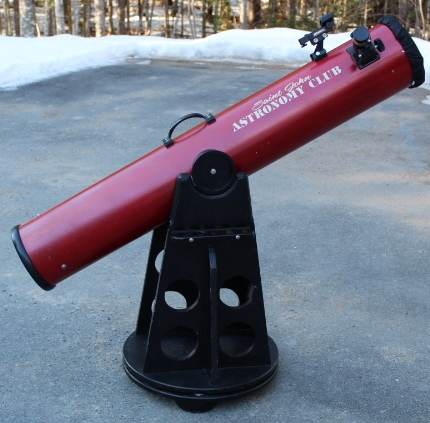 Photo showing the 6 inch Dobsonian Telescope available for borrowing from the SJAC.