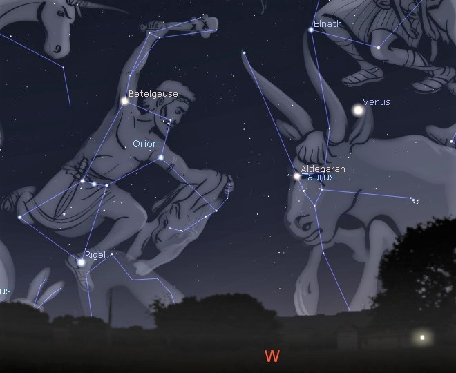 Photo showing the Orion and Taurus constellations starting to set in the western night sky, a sign that winter is over.