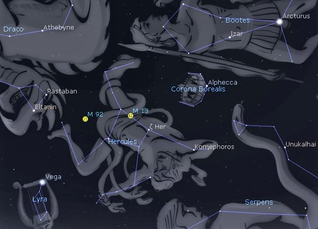 Photo showing the constellation Hercules with the keystone asterism located between the bright stars Vega and Arcturus