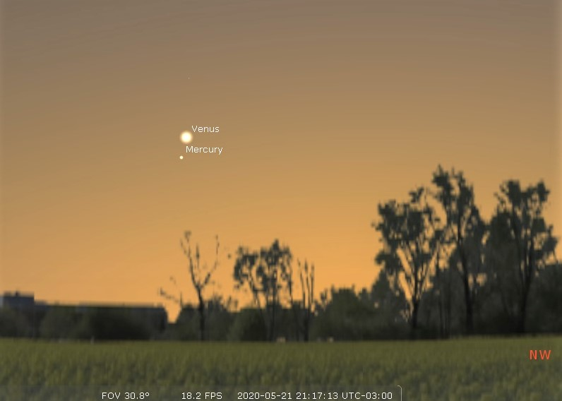 Photo showing Mercury and Venus very close to each other after sunset on May 21, 2020.