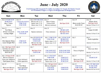 Calendar for the Saint John Astronomy Club for June-July 2020.