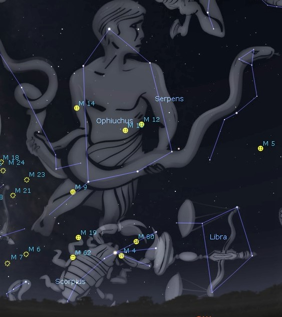 Photo showing the house-shaped constellation Ophiuchus the Serpent Bearer and some of the viewing treasures in that area.