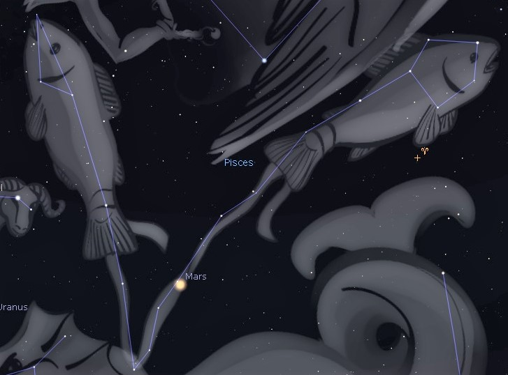 Photo showing location of the Circlet of Pisces which forms the head of one of the two fish of this zodiac constellation.