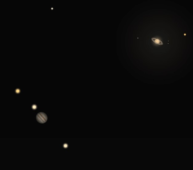 Photo showing Jupiter and Saturn conjunction.