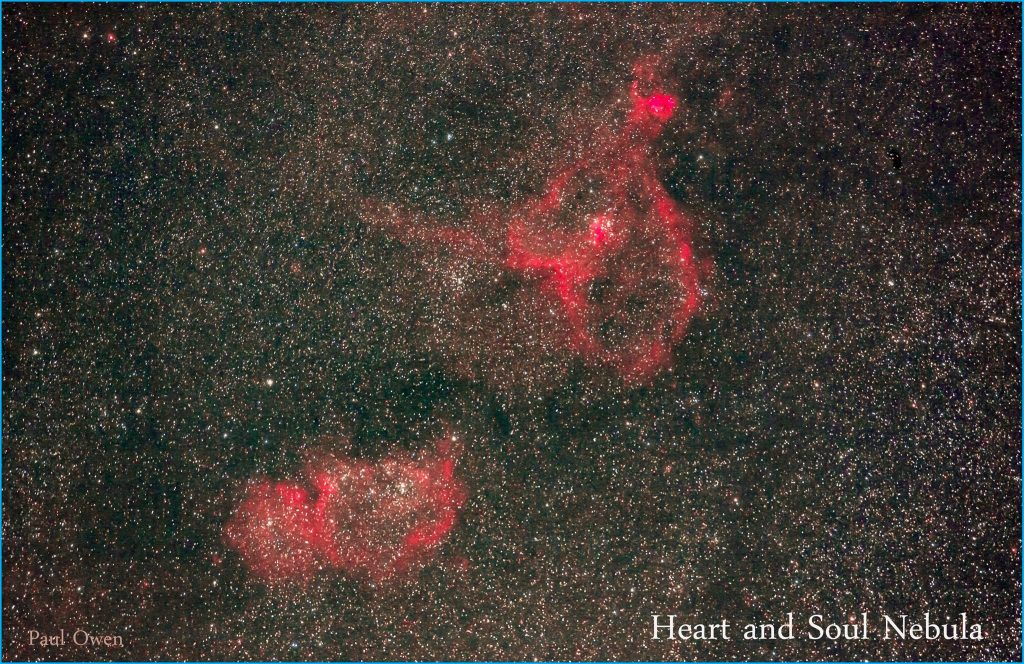 Image of the Heart and Soul Nebula Cassiopeia the Queen as captured by Paul Owen.