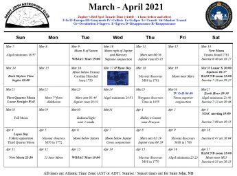 Calendar of the Saint John Astronomy Club for March-April 2021