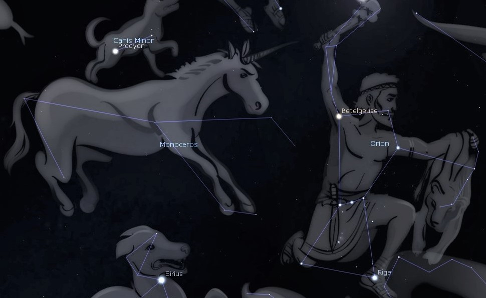 Photo showing Orion the Hunter and the faint constellation Monoceros the Unicorn.