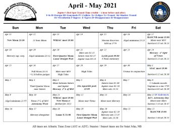 Calendar of the Saint John Astronomy Club for April-May 2021.