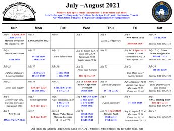 Calendar of the Saint John Astronomy Club for July-August 2021