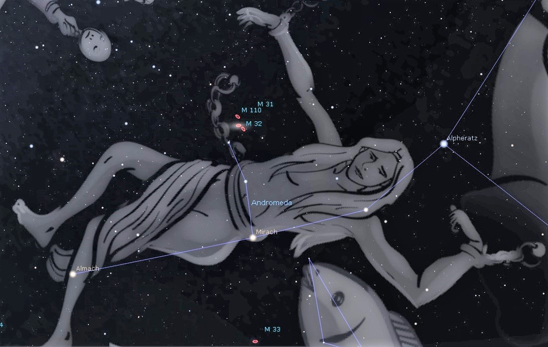 Photo of the constellation Andromeda in the eastern sky showing the location of M31, the Andromeda Galaxy.