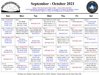 Calendar for the Saint John Astronomy Club for September-October 2021.